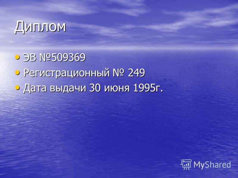 Диплом ЭВ 509369 ЭВ 509369 Регистрационный 249 Регистрационный 249 Дата выдачи 30 июня 1995г. Дата выдачи 30 июня 1995г.