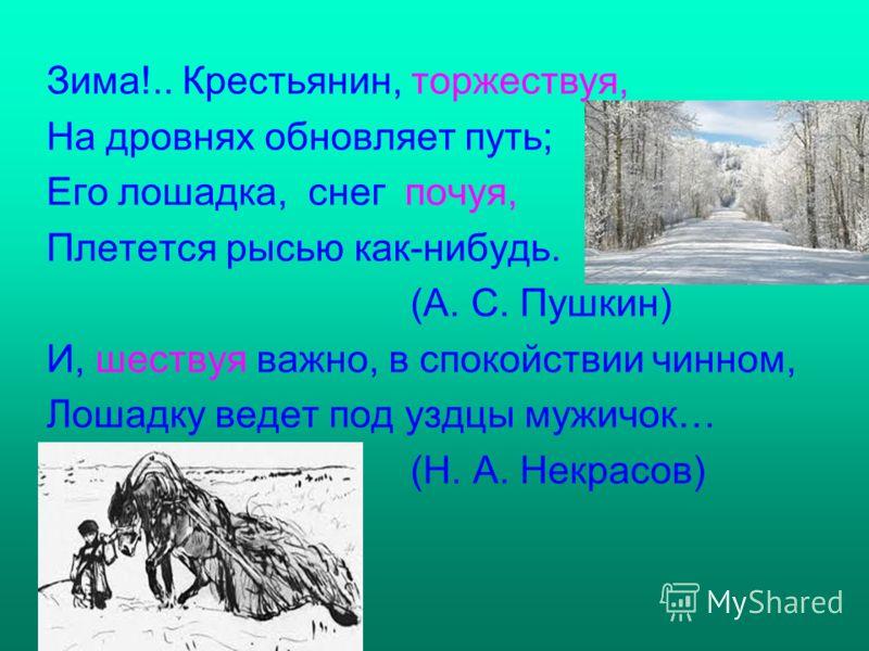 Зима!.. Крестьянин, торжествуя, На дровнях обновляет путь; Его лошадка, снег почуя, Плетется рысью как-нибудь. (А. С. Пушкин) И, шествуя важно, в спокойствии чинном, Лошадку ведет под уздцы мужичок… (Н. А. Некрасов)