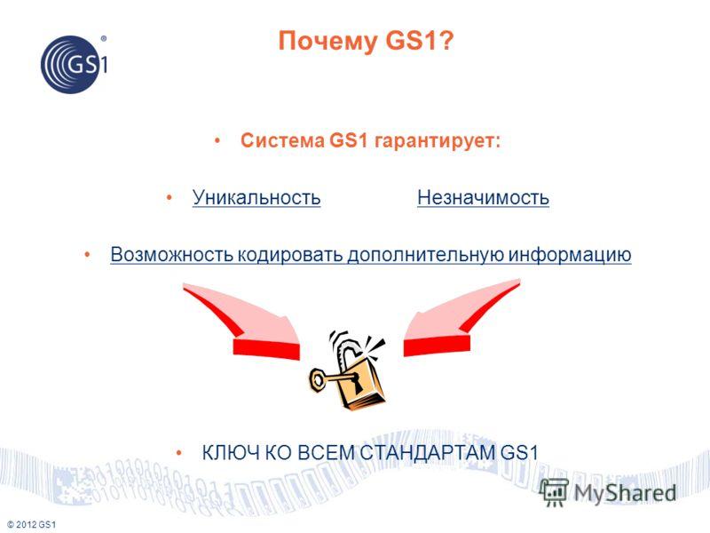 © 2012 GS1 Почему GS1? Система GS1 гарантирует: Уникальность Незначимость Возможность кодировать дополнительную информацию КЛЮЧ КО ВСЕМ СТАНДАРТАМ GS1