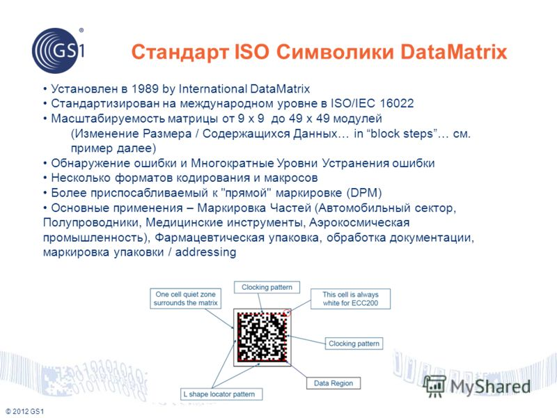 © 2012 GS1 Установлен в 1989 by International DataMatrix Стандартизирован на международном уровне в ISO/IEC 16022 Масштабируемость матрицы от 9 x 9 до 49 x 49 модулей (Изменение Размера / Содержащихся Данных… in block steps… см. пример далее) Обнаруж