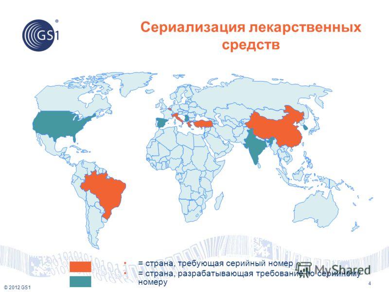 © 2012 GS1 Сериализация лекарственных средств 4 = страна, требующая серийный номер = страна, разрабатывающая требование по серийному номеру
