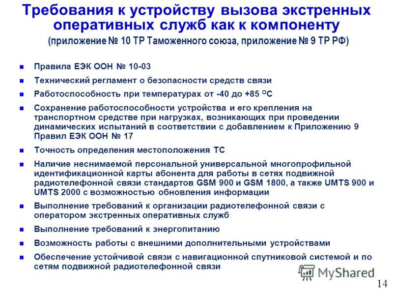 Правила ЕЭК ООН 10-03 Технический регламент о безопасности средств связи Работоспособность при температурах от -40 до +85 О С Сохранение работоспособности устройства и его крепления на транспортном средстве при нагрузках, возникающих при проведении д