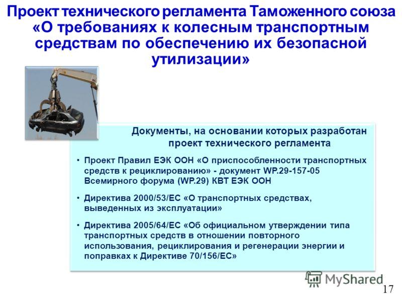 Проект Правил ЕЭК ООН «О приспособленности транспортных средств к рециклированию» - документ WP.29-157-05 Всемирного форума (WP.29) КВТ ЕЭК ООН Директива 2000/53/EC «О транспортных средствах, выведенных из эксплуатации» Директива 2005/64/EC «Об офици