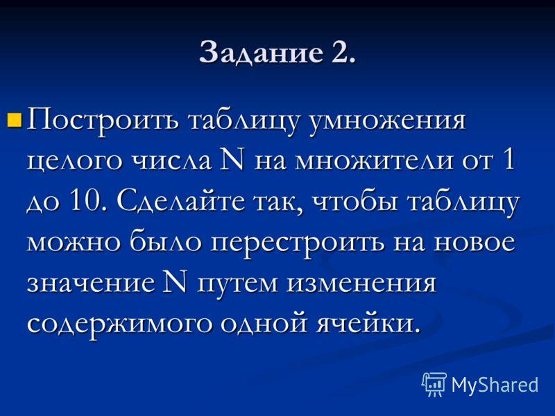 Задание 2. Построить таблицу умножения целого числа N на множители от 1 до 10. Сделайте так, чтобы таблицу можно было перестроить на новое значение N путем изменения содержимого одной ячейки. Построить таблицу умножения целого числа N на множители от