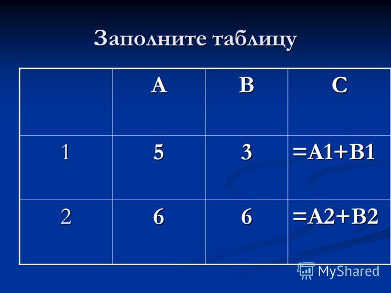 Заполните таблицу АВС 153=А1+В1 266=А2+В2