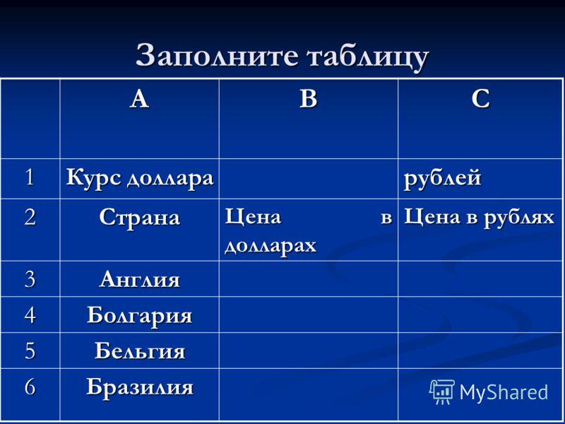 АВС 1 Курс доллара рублей 2Страна Цена в долларах Цена в рублях 3Англия 4Болгария 5Бельгия 6Бразилия