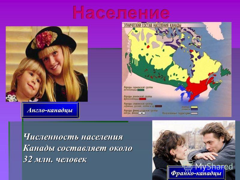 Англо-канадцы Франко-канадцы Численность населения Канады составляет около 32 млн. человек