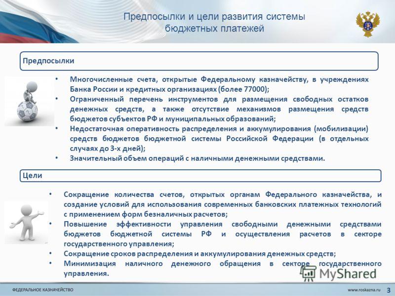 Предпосылки и цели развития системы бюджетных платежей Предпосылки Многочисленные счета, открытые Федеральному казначейству, в учреждениях Банка России и кредитных организациях (более 77000); Ограниченный перечень инструментов для размещения свободны