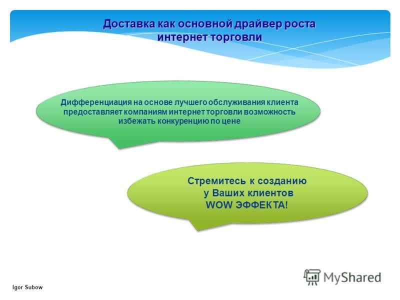 Доставка как основной драйвер роста интернет торговли Igor Subow Дифференциация на основе лучшего обслуживания клиента предоставляет компаниям интернет торговли возможность избежать конкуренцию по цене Стремитесь к созданию у Ваших клиентов WOW ЭФФЕК