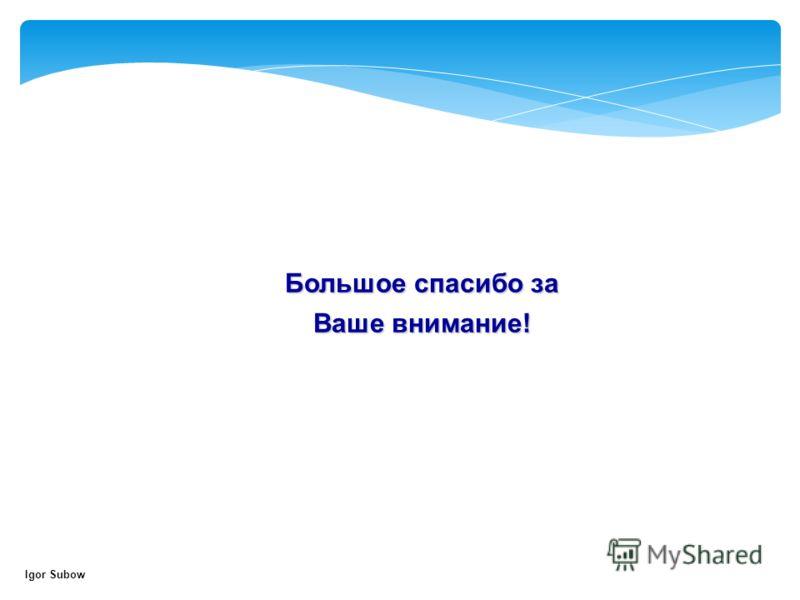 Большое спасибо за Ваше внимание! Igor Subow