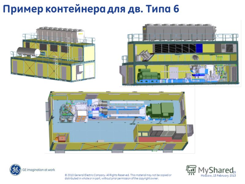 29 Moscow, 13 February 2013 © 2010 General Electric Company. All Rights Reserved. This material may not be copied or distributed in whole or in part, without prior permission of the copyright owner. Пример контейнера для дв. Типа 6