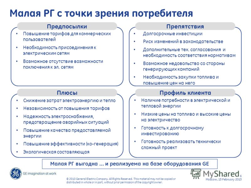 6 Moscow, 13 February 2013 © 2010 General Electric Company. All Rights Reserved. This material may not be copied or distributed in whole or in part, without prior permission of the copyright owner. Малая РГ с точки зрения потребителя Повышение тарифо