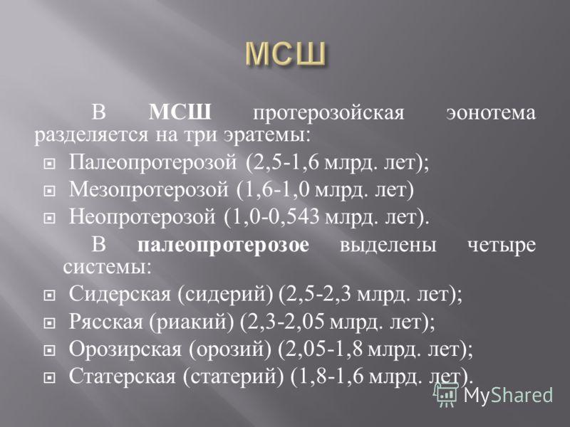 В МСШ протерозойская эонотема разделяется на три эратемы : Палеопротерозой (2,5-1,6 млрд. лет ); Мезопротерозой (1,6-1,0 млрд. лет ) Неопротерозой (1,0-0,543 млрд. лет ). В палеопротерозое выделены четыре системы : Сидерская ( сидерий ) (2,5-2,3 млрд