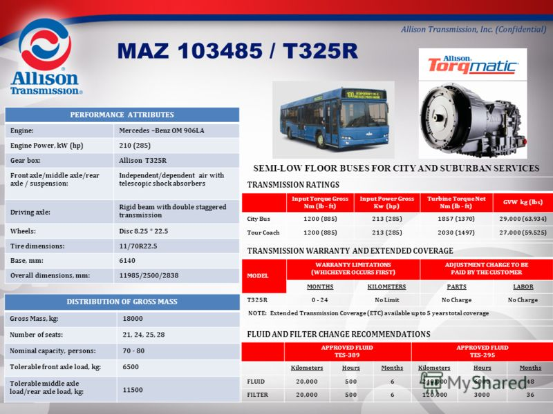 MAZ 103485 / T325R PERFORMANCE ATTRIBUTES Engine:Mercedes –Benz OM 906LA Engine Power, kW (hp)210 (285) Gear box:Allison T325R Front axle/middle axle/rear axle / suspension: Independent/dependent air with telescopic shock absorbers Driving axle: Rigi