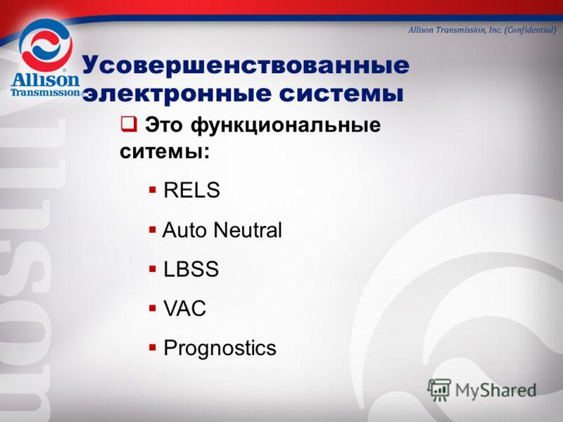 Это функциональные ситемы: RELS Auto Neutral LBSS VAC Prognostics Усовершенствованные электронные системы