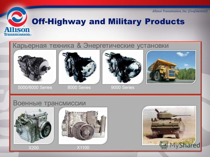 Карьерная техника & Энергетические установки Военные трансмиссии 5000/6000 Series 8000 Series9000 Series X200 X1100 Off-Highway and Military Products