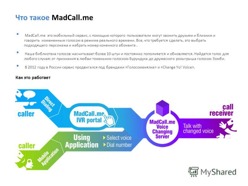 Что такое MadCall.me MadCall.me это мобильный сервис, с помощью которого пользователи могут звонить друзьям и близким и говорить измененным голосом в режиме реального времени. Все, что требуется сделать, это выбрать подходящего персонажа и набрать но