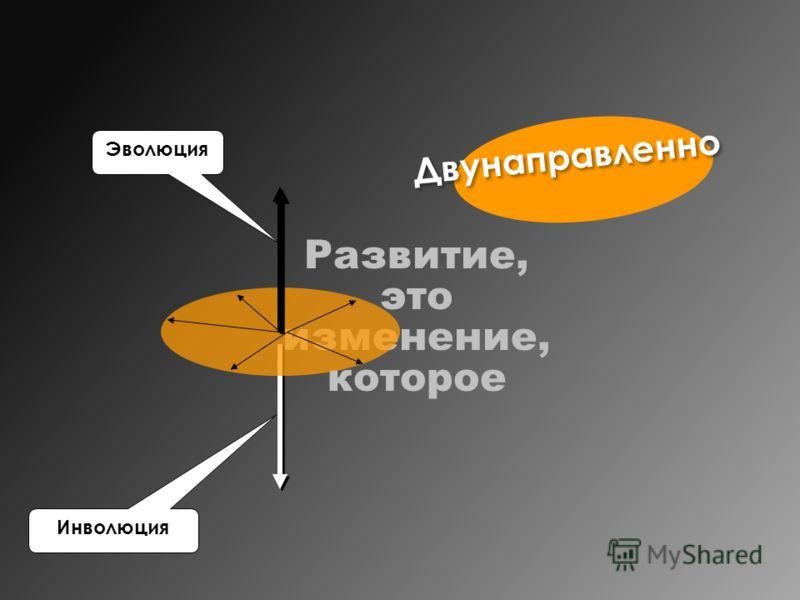 Двунаправленно Развитие, это изменение, которое Эволюция Инволюция