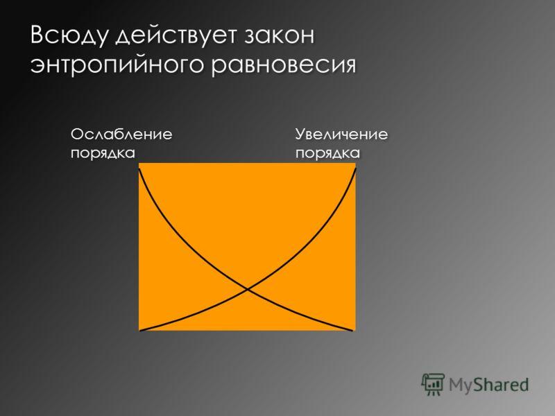 Всюду действует закон энтропийного равновесия Увеличение порядка Ослабление порядка