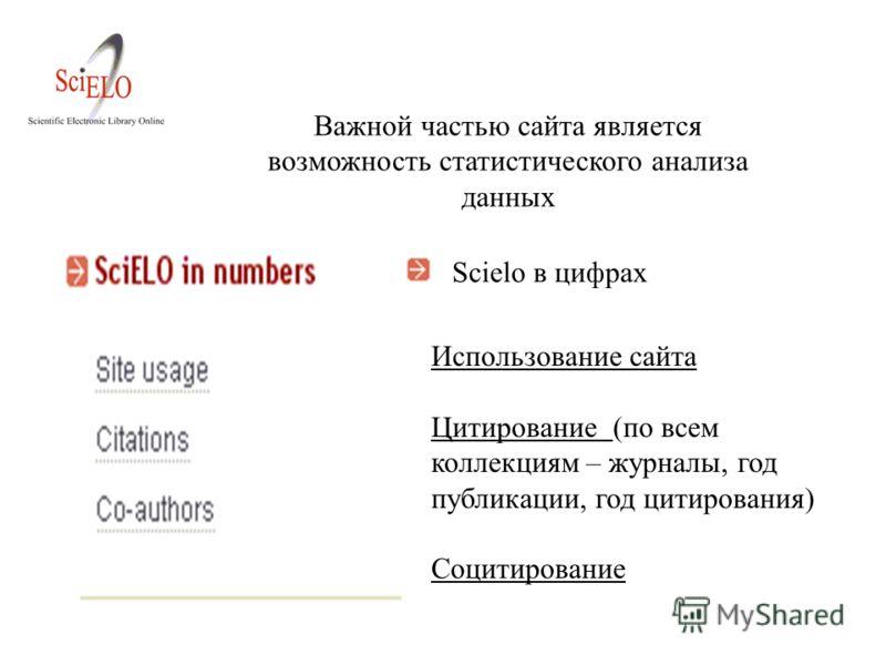 Использование сайта Цитирование (по всем коллекциям – журналы, год публикации, год цитирования) Социтирование Scielo в цифрах Важной частью сайта является возможность статистического анализа данных