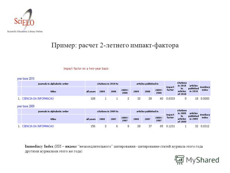 Пример: расчет 2-летнего импакт-фактора Immediacy Index (ИИ – индекс незамедлительного цитирования - цитирование статей журнала этого года другими журналами этого же года)