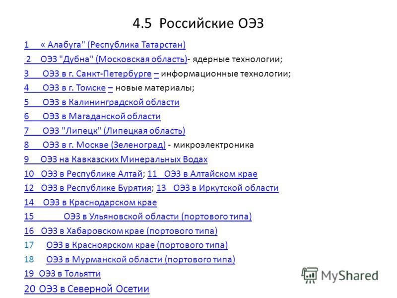 4.5 Российские ОЭЗ 1 « Алабуга