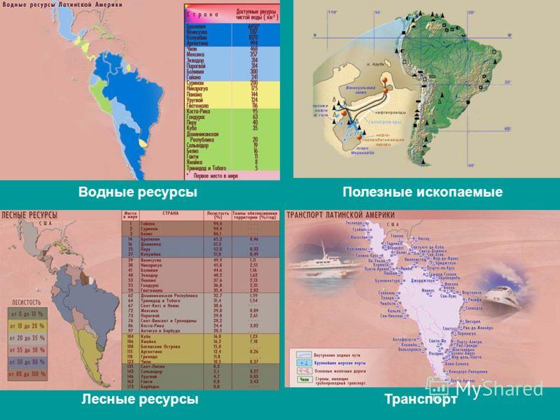 Водные ресурсыПолезные ископаемые Лесные ресурсыТранспорт