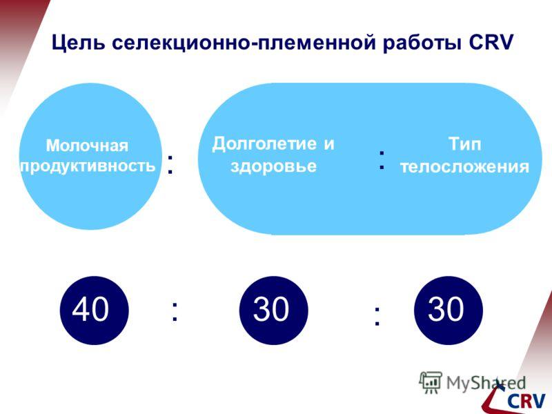 Молочная продуктивность Долголетие и здоровье Тип телосложения : : : : 4030 Цель селекционно-племенной работы CRV
