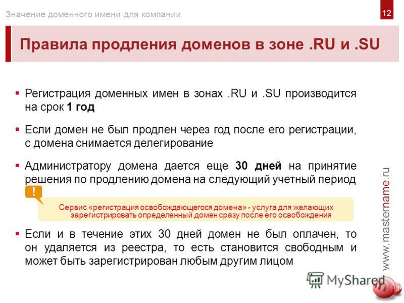 Правила продления доменов в зоне.RU и.SU www.mastername.ru Значение доменного имени для компании Регистрация доменных имен в зонах.RU и.SU производится на срок 1 год Если домен не был продлен через год после его регистрации, с домена снимается делеги