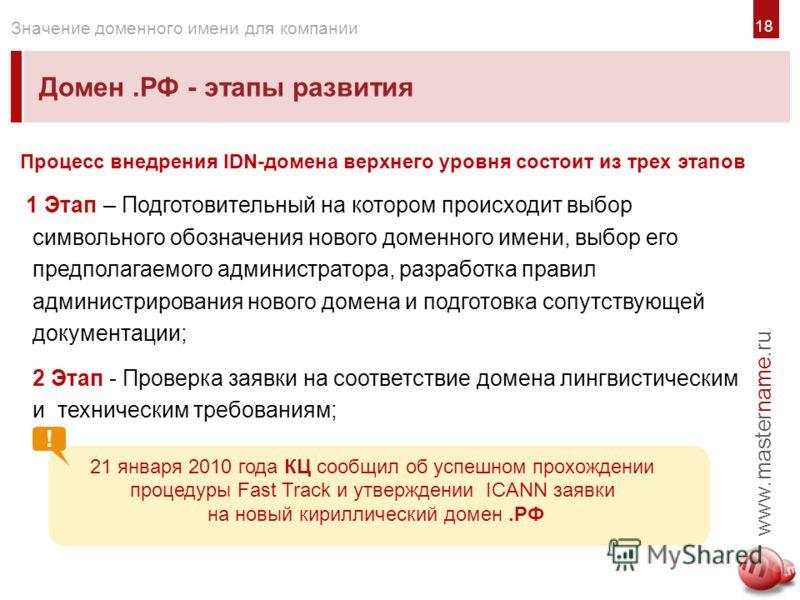1818 Домен.РФ - этапы развития www.mastername.ru Значение доменного имени для компании Процесс внедрения IDN-домена верхнего уровня состоит из трех этапов 1 Этап – Подготовительный на котором происходит выбор символьного обозначения нового доменного