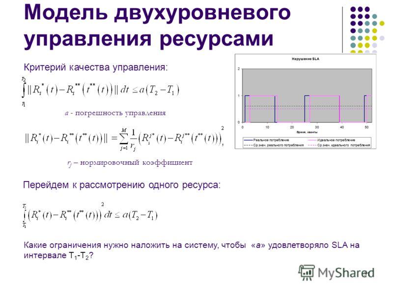 31 Модель двухуровневого управления ресурсами a - погрешность управления Перейдем к рассмотрению одного ресурса:, Какие ограничения нужно наложить на систему, чтобы «a» удовлетворяло SLA на интервале T 1 -T 2 ? r j – нормировочный коэффициент Критери
