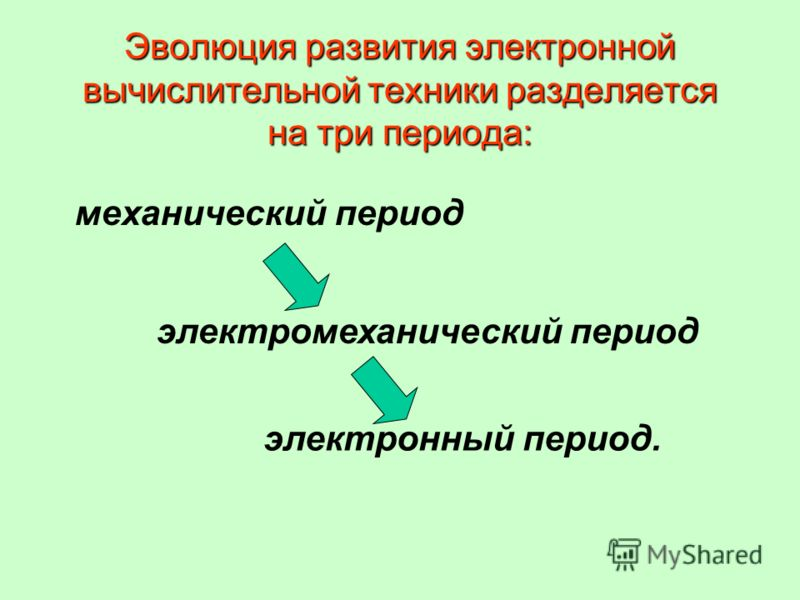 Эволюция развития электронной вычислительной техники разделяется на три периода: механический период электромеханический период электронный период.