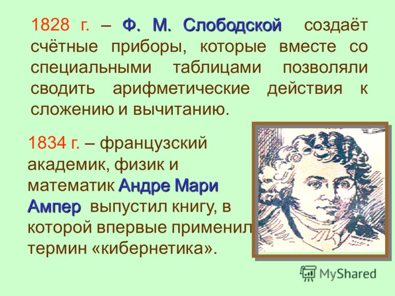 Андре Мари Ампер 1834 г. – французский академик, физик и математик Андре Мари Ампер выпустил книгу, в которой впервые применил термин «кибернетика». Ф. М. Слободской 1828 г. – Ф. М. Слободской создаёт счётные приборы, которые вместе со специальными т