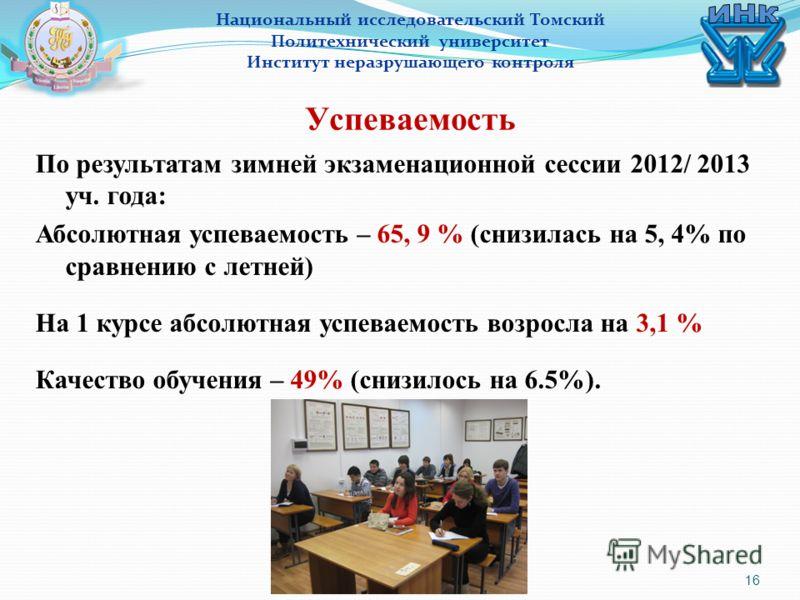 16 Национальный исследовательский Томский Политехнический университет Институт неразрушающего контроля Успеваемость По результатам зимней экзаменационной сессии 2012/ 2013 уч. года: Абсолютная успеваемость – 65, 9 % (снизилась на 5, 4% по сравнению с