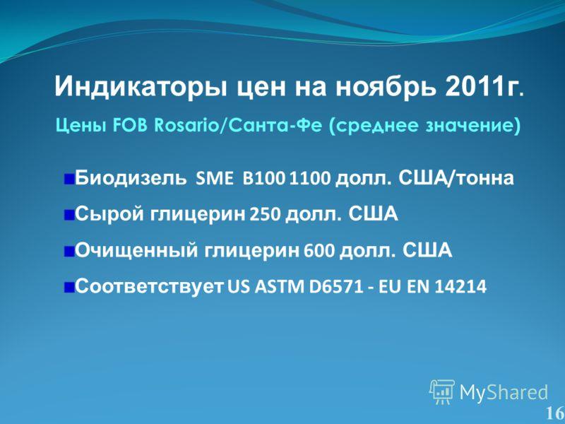 16 Цены FOB Rosario/Санта-Фе (среднее значение) Биодизель SME B100 1100 долл. США / тонна Сырой глицерин 250 долл. США Очищенный глицерин 600 долл. США Соответствует US ASTM D6571 - EU EN 14214 Индикаторы цен на ноябрь 2011г.