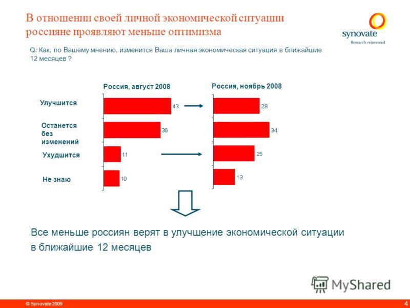 © Synovate 2009 3 Q1: Как, по Вашему мнению, изменится экономическая ситуация в Вашей стране в ближайшие 12 месяцев ? В отношении экономики своей страны россияне настроены более оптимистично по сравнению с жителями други х стран – только 25% счита ю