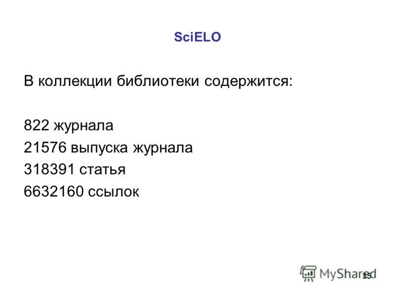 35 SciELO В коллекции библиотеки содержится: 822 журнала 21576 выпуска журнала 318391 статья 6632160 ссылок