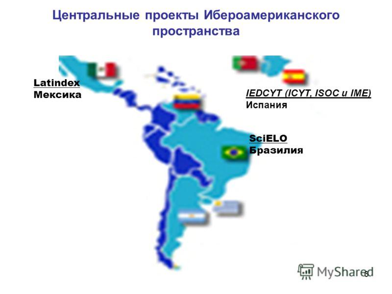 6 Центральные проекты Ибероамериканского пространства Latindex Мексика SciELO Бразилия IEDCYT (ICYT, ISOC и IME) Испания