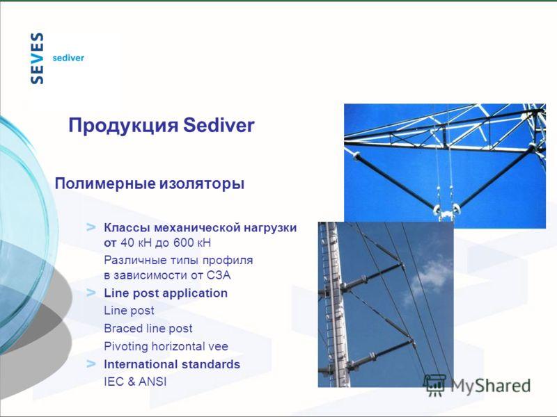 Полимерные изоляторы Классы механической нагрузки от 40 кН до 600 кН Различные типы профиля в зависимости от СЗА Line post application Line post Braced line post Pivoting horizontal vee International standards IEC & ANSI