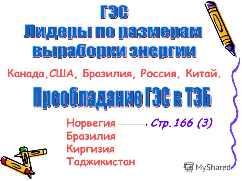 Канада,США, Бразилия, Россия, Китай. Норвегия Бразилия Киргизия Таджикистан Стр.166 (3)