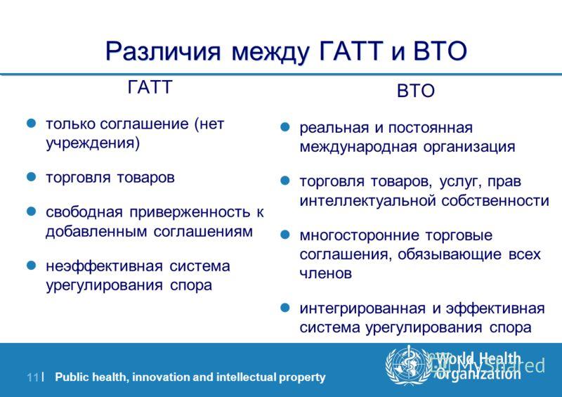 Public health, innovation and intellectual property 11 | Различия между ГАТТ и ВТО ГАТТ только соглашение (нет учреждения) торговля товаров свободная приверженность к добавленным соглашениям неэффективная система урегулирования спора ВТО реальная и п