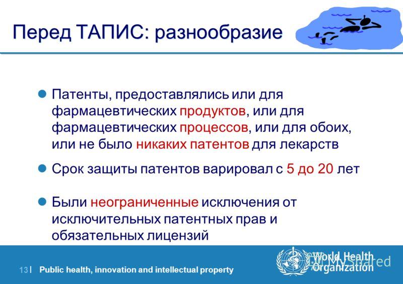 Public health, innovation and intellectual property 13 | Перед ТАПИС: разнообразие Патенты, предоставлялись или для фармацевтических продуктов, или для фармацевтических процессов, или для обоих, или не было никаких патентов для лекарств Срок защиты п