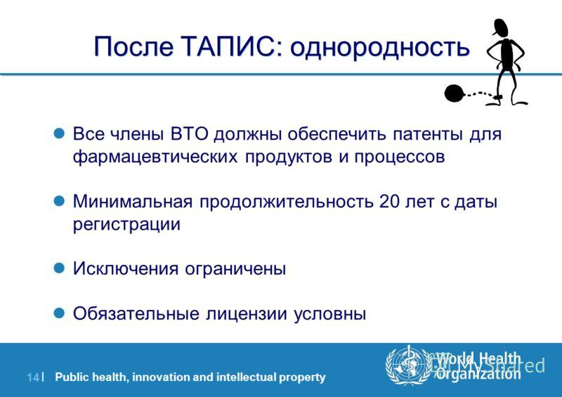 Public health, innovation and intellectual property 14 | После ТАПИС: однородность Все члены ВТО должны обеспечить патенты для фармацевтических продуктов и процессов Минимальная продолжительность 20 лет с даты регистрации Исключения ограничены Обязат