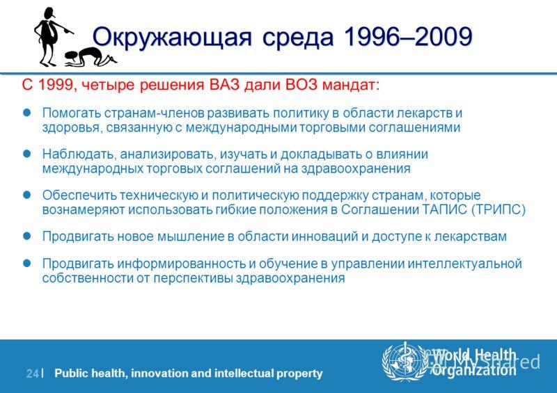 Public health, innovation and intellectual property 24 | Окружающая среда 1996–2009 С 1999, четыре решения ВАЗ дали ВОЗ мандат: Помогать странам-членов развивать политику в области лекарств и здоровья, связанную с международными торговыми соглашениям