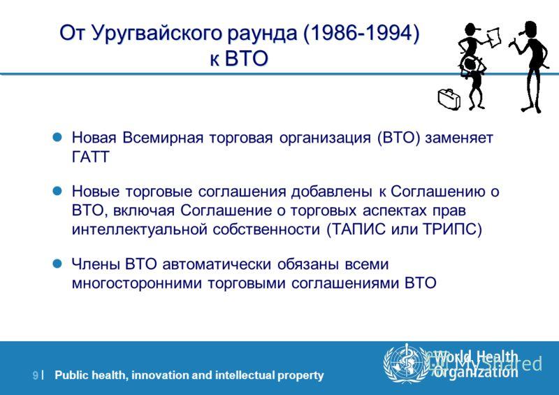 Public health, innovation and intellectual property 9 |9 | От Уругвайского раунда (1986-1994) к ВТО Новая Всемирная торговая организация (ВТО) заменяет ГАТТ Новые торговые соглашения добавлены к Соглашению о ВТО, включая Соглашение о торговых аспекта