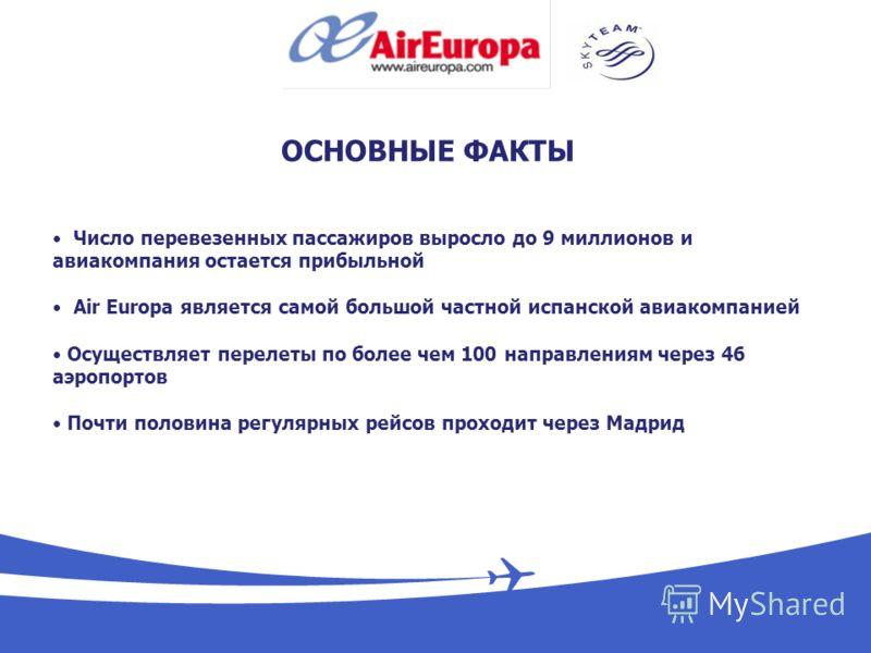 ОСНОВНЫЕ ФАКТЫ Число перевезенных пассажиров выросло до 9 миллионов и авиакомпания остается прибыльной Air Europa является самой большой частной испанской авиакомпанией Осуществляет перелеты по более чем 100 направлениям через 46 аэропортов Почти пол