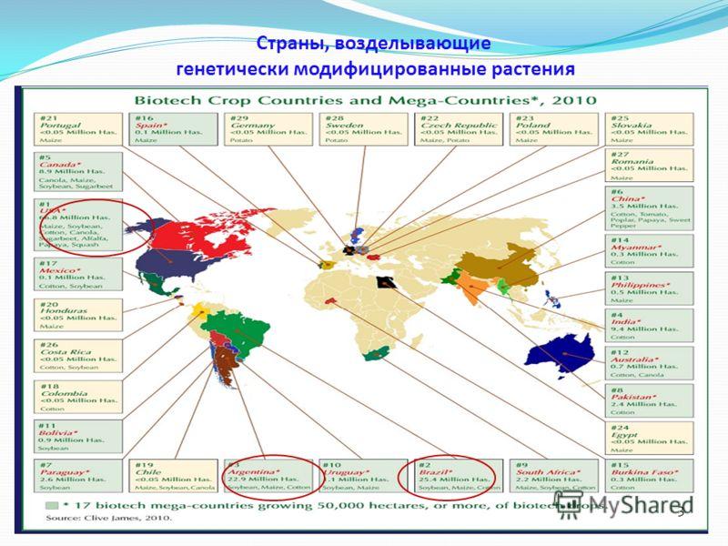 Страны, возделывающие генетически модифицированные растения 3
