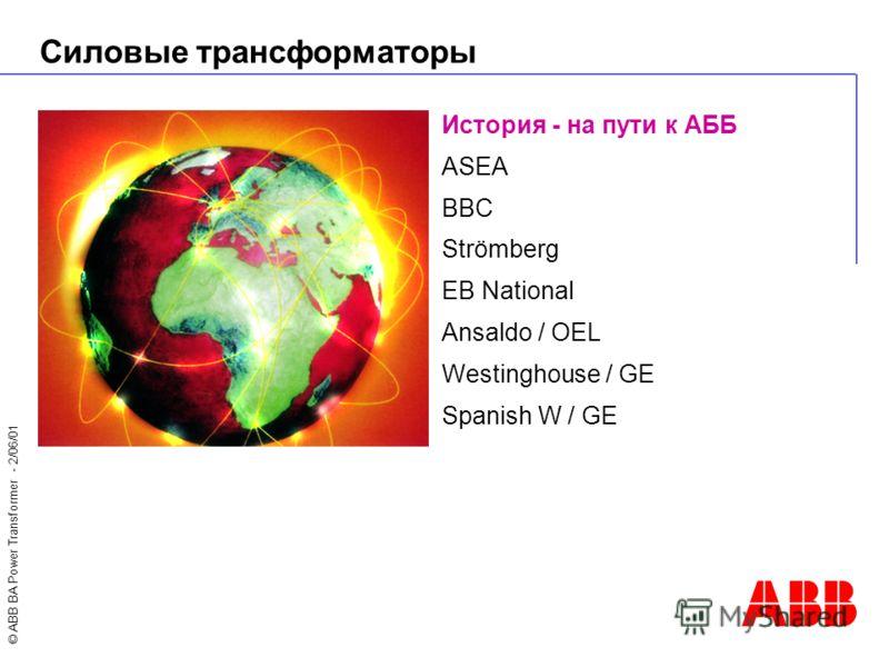 © ABB BA Power Transformer - 2/06/01 Силовые трансформаторы История - на пути к АББ ASEA BBC Strömberg EB National Ansaldo / OEL Westinghouse / GE Spanish W / GE