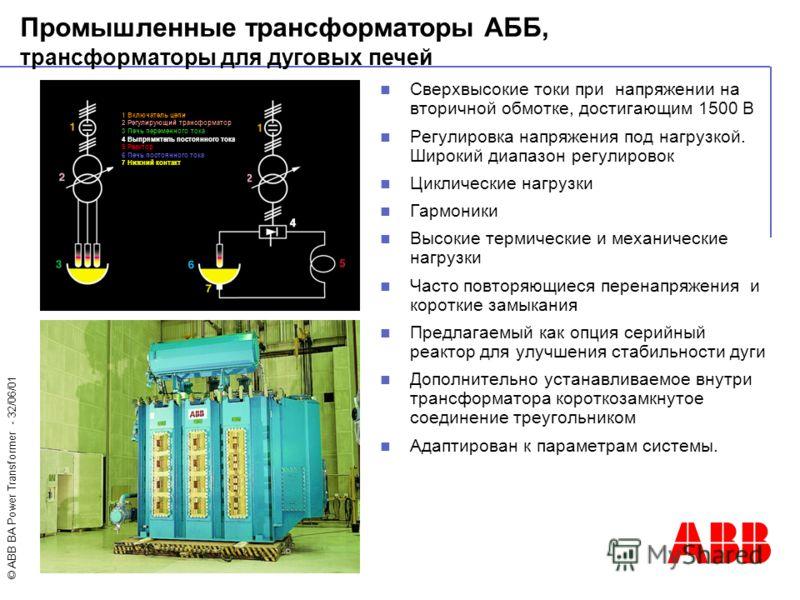 © ABB BA Power Transformer - 32/06/01 Сверхвысокие токи при напряжении на вторичной обмотке, достигающим 1500 В Регулировка напряжения под нагрузкой. Широкий диапазон регулировок Циклические нагрузки Гармоники Высокие термические и механические нагру