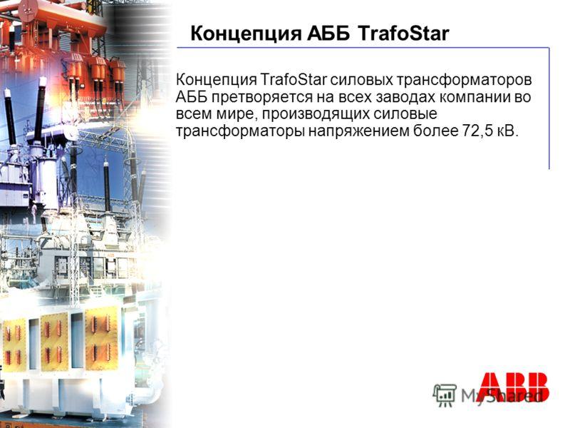 © ABB BA Power Transformer - 9/06/01 Концепция АББ TrafoStar Концепция TrafoStar силовых трансформаторов АББ претворяется на всех заводах компании во всем мире, производящих силовые трансформаторы напряжением более 72,5 кВ.